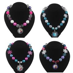 Frozen Necklaces Snowflake Necklace Beaded Necklace With Snowflake Beads Frozen Cartoon Princess Pendants Fashion Jewelry From Vcbeads, $16.76 | Dhgate.Com