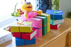 Party favors in book-shaped boxes!
