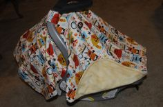 Mighty Monsters Flannel Car Seat Canopy by BBsBanners on Etsy
