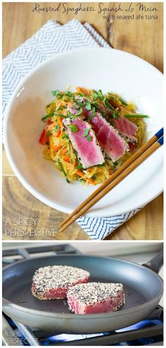 Love this Roasted Spaghetti Squash Lo Mein! Today we're sharing a simple Roasted Spaghetti Squash Lo Mein Recipe that has become a family go-to. Light, healthy, and topped with seared Ahi Tuna, it's a true pleasure on the dinner table. Fish Recipes, Seafood Recipes, Asian Recipes, Cooking Recipes, Healthy Recipes, Clean Eating, Healthy Eating, Lo Mein, Spaghetti Squash