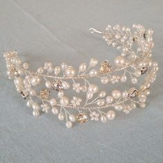 Swarovski crystal and freshwater pearl bridal diadem Ferarra
