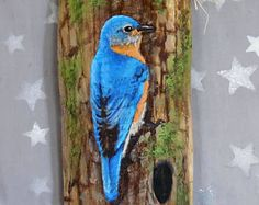 "Bright Bluebird, songbird, hand painted, authentic barn wood, 4"" X 10"""