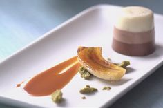 triple layer panna cotta with rooibos caramel and white chocolate pistachio gianduja....for the next time i decide to be a pastry chef