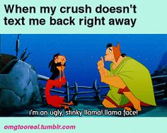LOL sad funny gif texting llama crying confused upset crush Emperors New Groove omgtooreal llama face worried gif