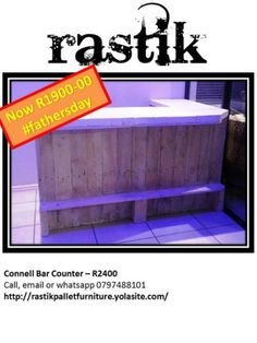 Connell Bar Counter – R2400Call, email or whatsapp0797488101http://rastikpalletfurniture.yolasite.com/