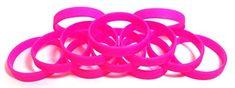 1 Dozen Multi-Pack Hot Pink Wristbands Bracelets Silicone...