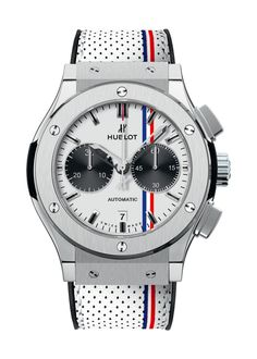 Classic Fusion Tour Auto Chronograph watch from Hublot- great timepiece for summer's lighter fabrics (yes, boys, you can watch your watch with the fabric and/or texture of your ensemble, as well as matching the color- to avoid confusion, pick one to match, not all three)