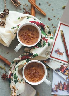 Almond Chai Hot Chocolate - incredibly creamy, delicious, and sweet. Almond milk, cacao, almond butter, tahini, homemade chai spice mix, sea salt, and maple syrup. So yummy! You'll love this hot chocolate, it's so easy to make. (vegan, GF) | thehealthfulideas.com