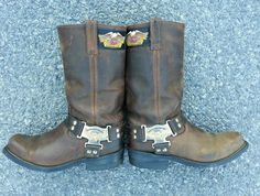 Mens Harley Davidson Motorcycles Distressed Leather Harness Engineer Boots 8m in eBay Motors | eBay