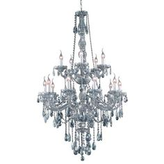 DINING ROOM 15-Light Silver Shade Chandelier with Grey Crystal
