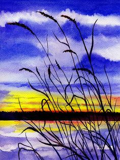 "landscape Painting Watercolor. Title : "" Sunset "" by Brenda Owen"
