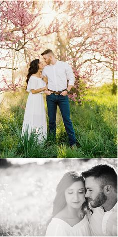 Spring engagement photos in Knoxville, TN with yellow wildflowers and redbud blooms!