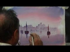 How to paint a simple boat scene with reflections - YouTube