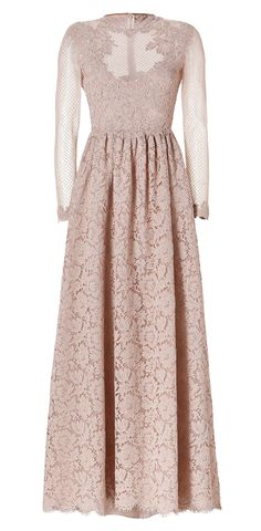 VALENTINO Embellished Lace Evening Gown with Netted Long Sleeves
