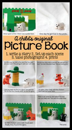 make an original picture book with kids! write a story, set up each part of the story with toys/stuffed animals, etc., take pictures, and print! A super creative, brainy way to have smart fun   VanillaJoy.com #homeschool #kidsactivities
