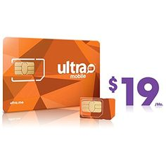 Ultra Mobile Sim Card Dual Cut for $19 Plan - Unfunded - New Number