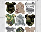 Baby One-Piece Tags -- From Our Shower to Yours, Camo, Hunting, Army, Baby Shower, Favor, Thank You, Gift Tags -- Printable PNG & PDF Format
