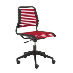 Euro Style Baba Flat Low Back Office Chair In RTA In Red/Graphite. Bungee  CordBlack ...