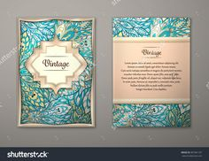 Vintage Cards With Floral Mandala Pattern And Ornaments. Vector Flyer Oriental Design Layout Template, Size A5. Islam, Arabic, Indian, Ottoman Motifs. Front Page And Back Page. Easy To Use And Edit. - 387381187 : Shutterstock