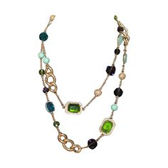 Kenneth Jay Lane Multi Stone, Bead & Chicklet Necklace | From a unique collection of vintage drop necklaces at https://www.1stdibs.com/jewelry/necklaces/drop-necklaces/