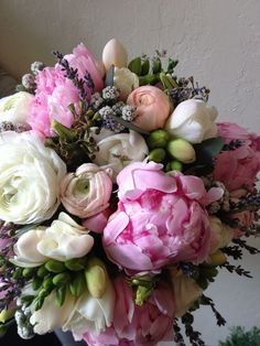 Sydney's bridal bouquet with peonies, lavender, ranunculus and freesia at Botany Floral Studio