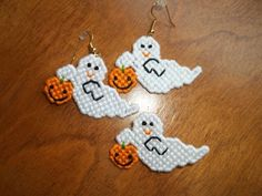 Halloween Ghost with Pumpkin Pin and Earring by CraftsByChrisAnn