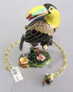 New Trinket Box Gift Swarovski Crystals Jazzy Toucan Bird Animal Necklace
