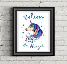 Scroll down for more fun… Nursery Prints, Nursery Wall Art, Unicorn Quotes, Unicorn Print, Believe In Magic, Romantic Quotes, Gifts For Girls, Watercolor Illustration, More Fun