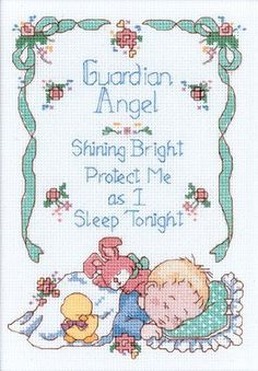 Dimensions Needlecrafts Counted Cross Stitch, Guardian An. Baby Cross Stitch Patterns, Cross Stitch For Kids, Cute Cross Stitch, Cross Stitch Rose, Cross Stitch Samplers, Counted Cross Stitch Kits, Cross Stitch Charts, Cross Stitch Designs, Cross Stitching