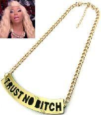 "Black and Gold  ""Trust No Bitch"" Statement Necklace Chain Nicki Minaj Barbie"