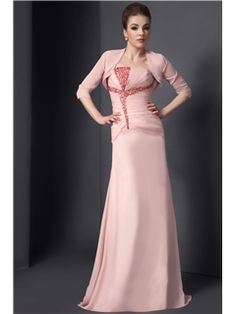 Beading Mermaid/Trumpet Strapless Neckline Floor-Length Mother of the Bride Dress With Jacket/Shawl