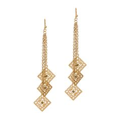 """Love this! Found it on UPTOWN STYLE -- https://uptownstyle.kitsylane.com/index.php  - Long earrings that sweep the neck are all the rage. These goldtone metal Destiny earrings feature three diamond filigree shapes with a center crystal, dangling from goldtone chains. Alluring!   - Goldtone metal   - 4 1/4"""" long   - French wire"""