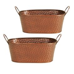 2 Piece Oval Pot Planter Set