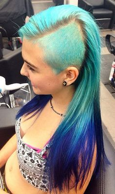 Shaved turquoise blue dyed hair