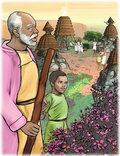 """Cleous G. Young's illustration of Grandfather and David from """"The Mountain of Miracles"""""""