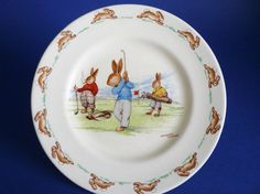 Royal Doulton Bunnykins 'Game of Golf' Child's Plate signed Barbara Vernon c1939