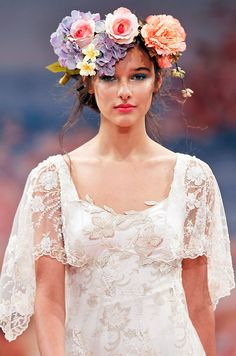 Wedding dress with sleeves from Claire Pettibone, Spring 2013. Click to see the full dress.