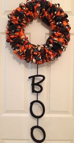 DIY Halloween Ribbon Wreath with BOO Wooden Letters