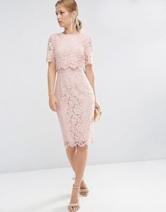 ASOS | ASOS Lace Crop Top Midi Pencil Dress at ASOS