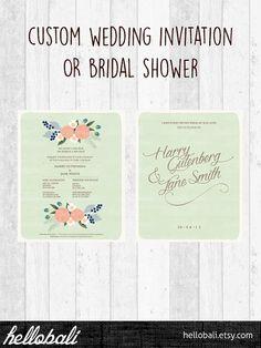 Custom Botanical Wedding Invitation Printable Floral by HelloBali