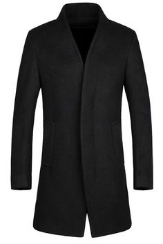 Laconic Stand Collar Multi-Button French Front Back Slit Long Sleeves Fitted Woolen Blend Coat For Men