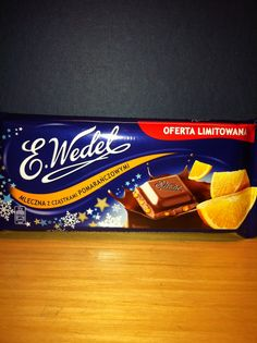 Wedel Milk Chocolate bar with Orange (Poland) Dessert Drinks, Desserts, Pie Tops, Food Items, New Recipes, Poland, Room Ideas, Milk, Candy