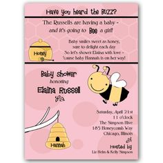 Honey Bee Girl Baby Shower Invitations | PaperStyle
