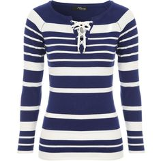 Jane Norman Dark Blue Stripe Lace Up Neck Jumper found on Polyvore featuring tops, sweaters, women, blue v neck sweater, blue top, long sleeve sweaters, blue jumper and lace up top