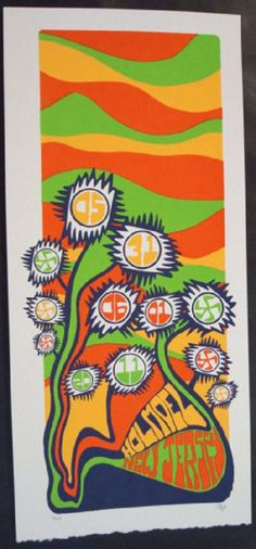 Original silkscreen concert poster for Phish on May 31st and June 1st at The PNC Bank Arts Center in Holmdel, NJ in 2011. It is printed on Watercolor Paper with Acrylic Inks and measures around 10 x 22 inches.  Print is signed and numbered 120 by the artist Tripp.
