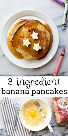3 ingredient banana pancakes, plus more toddler recipes ideas! Easy homemade kid food, perfect for babies and toddler meal ideas. #kidfood #babyfood #banana #bananapancakes #toddlerrecipes #toddlerideas Banana Pancakes For Baby, Homemade Pancakes, Homemade Baby Foods, Oatmeal Pancakes, Pancakes For Babies, Baby Cereal Pancakes, Toddler Recipes, Toddler Meals, Baby Food Recipes