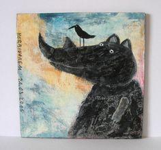 FRAU NASHORN von Herbivore11 Unikat Minibild Inchie Quadrat Vogel Nashorn Bild