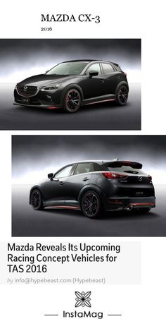 Mazda CX-3 racing concept - full body aerodynamic kits, new alloy wheels, upgraded interior upholstery and more. CX-3 is presented with sport seats and cleaned up but aggressively styled exterior (source: Hypebeast).