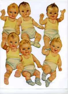 These are my own vintage paper dolls...probably from the very early 1950's or very late 1940's...there are 3 boys and 3 girls....Billy, Betty, Babs, Jackie, Joan, and Bobby.