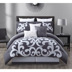 This designer style comforter infuses its elegant design and ambiance to your bedroom.1 Comforter, 2 Shams, 1 Bedskirt ,2 Euro Shams and 3 Dec Pillows.